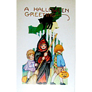 HTF MINT Whitney Halloween Postcard - Two Girls, one in Witch Costume, Boy, Black Cat