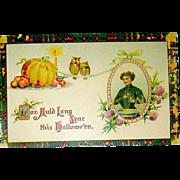 "German Unused Halloween Postcard - Scotch Tartan Series - ""Auld Lang Syne"""