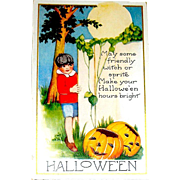 Rare Unused Pristine Condition Whitney Halloween Postcard - Young Lad Makes a Halloween Wish