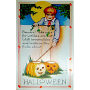 Rare Unused Pristine Condition Whitney Halloween Postcard - Young Lad Gives Warning