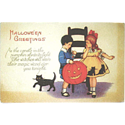 Cute Vintage Halloween Postcard - Boy & Girl - Big JOL - Black Cat - Age Darkened Borders