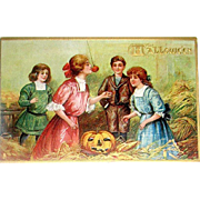 HTF Unused Tuck Postcard, Printed in Saxony - Halloween Games Played