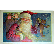 Winsch Schmucker Santa Claus Postcard - Teddy Bear, Jack-in-the-Box