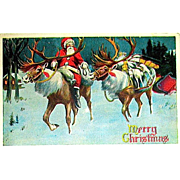 Extraordinary 1916 Santa Claus Riding a Reindeer Christmas Postcard