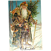 Beautiful Early Santa Claus International Postcard - Heavily Gilded Vivid Colors