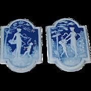 Pair of Vintage Limoges Pate Sur Pate Goddess & Cherub Decorative Plaques