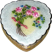 Beautiful Figural Heart Floral Designed Guilloche Face Powder Compact - EXCELLENT