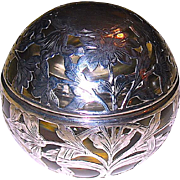 Black, Starr & Frost Company Art Nouveau Sterling Silver Overlay Covered Inkwell