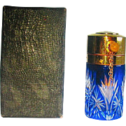"French Cobalt Cut To Clear Perfume 2 1/2"" Atomizer for 1900's Chady Fragrance ~ MIB"
