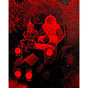 Valentine & Sons Santa Claus & Elf Postcard - Iridescent Red - Unused
