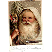 Tuck & Sons Saxony Printed 1905 Postcard - Exceptionally Scarce Beautiful Santa Claus Portrait