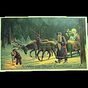 Rare Mailick Christmas Postcard - Weihnachtsmann, Gnome, Reindeer, Christ Child, Sledge