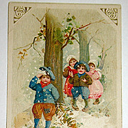 Winsch Schmucker Christmas Postcard - Children Playing in the Snow