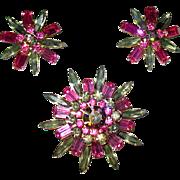 Judy Lee Five Tier Rhinestone Brooch w Earrings—free shipping