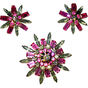 Judy Lee Five Tier Rhinestone Brooch w Earrings—free shipping
