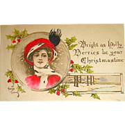 Gibson Art Co. Hand Colored Kathryn Elliott Christmas Postcard