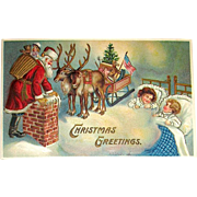 MAB German Christmas Postcard - Santa Claus, Reindeer, Sleigh, Sleeping Children