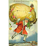 Scarce Fantasy Christmas Postcard - Santa Floating in the Sky w Ripped Toy Sack