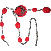 30'S Chromium Plated Necklace w Red Galalith Pendant & Red Glass Beads
