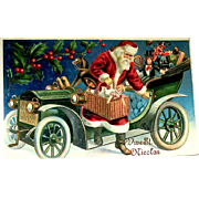 Superb German GEL Christmas Postcard ~ Santa Claus, Auto Filled w Toys ~ EXCELLENT