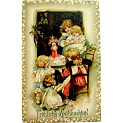 """Scarce Christmas Postcard, Schmucker Children, Santa Claus Cake """"Frohliche Weihnachten"""" Greeting"""