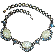 Vintage Couture Large Bejeweled Faux Opal Bib Necklace