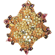 "Beautiful ""Original by Robert"" Russian Gold Brooch / Pendant w Colorful Rhinestones & Seed Pearls"