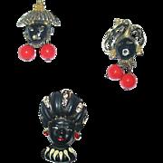 Three Delightful Vintage Blackamoor Face Scatter Pins