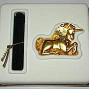 "Gorgeous Vintage Estee Lauder 2001 ""MAGICAL UNICORN"" Figural Solid Perfume Compact, MIBB"
