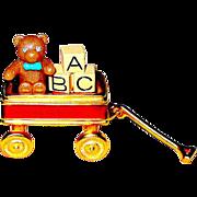 "Delightful 1999 Estee Lauder ""Toy Wagon"" w Teddy Bear & ABC Blocks Solid Perfume Compact"