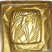 Rare Estee Lauder 1996 Golden Zodiac Series VIRGO Powder Compact - 20K Gold Plate - Largest Size - Excellent