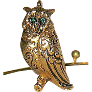 Unused Max Factor Slide Necklace w a Figural Owl Solid Perfume Pendant—MIB