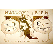 Unused Sepia Halloween Postcard - Gibson Art Co. - Crying Baby, Black Cat, Scary JOLs