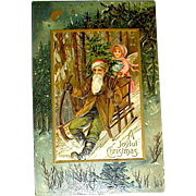 Weihnachtsmann /  Santa Claus & Angel Christmas Eve Postcard