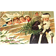 German Christmas Postcard - Santa Claus in Purple Watched by Children