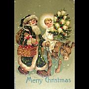 Beautiful Christmas Postcard ~ Great Santa Claus Image, Christ Child, Donkey