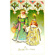 Antique Santa Claus & Angel German Christmas Postcard
