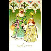 Antique Santa Claus & Angel German Christmas Postcard