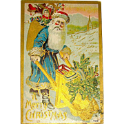 Early German Santa Claus Pushing Gold Wheelbarrow Postcard