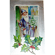 Excellent 1907 Santa Claus in Purple Delivers Gifts Christmas Postcard