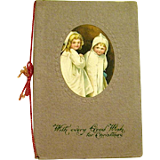 1916 Mounted Ellen Clapsaddle Christmas Postcard—Children in Nightgowns