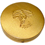 "Hard to Find Lazell ""As the Petals"" Powder Compact with Raised Figure of Dancing Lady"