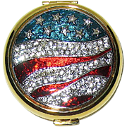 "Pristine Estee Lauder ""America the Beautiful"" Patriotic Flag Lucidity Powder Compact"