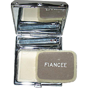"Beautiful Art Deco Unused ""Fiancee"" Vanity Compact w Box - PRISTINE"