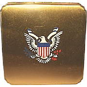Rare WW II U.S. Army Officer Sweetheart Eagle Insignia Powder Compact