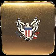 Rare WW II U.S. Army Officer Sweetheart Eagle Insignia Powder Compact