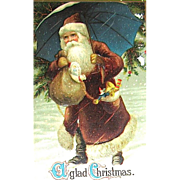 Santa Claus w Umbrella Christmas Postcard ~ Germany, Series 254