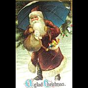 Santa Claus w Umbrella Christmas Postcard ~ Germany, Series 254