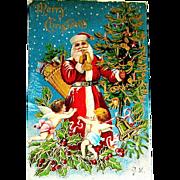 First Version of Santa Claus & Cherubs Scene Christmas Postcard - Heavy Gilt