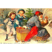 Old World Santa Claus Postcard ~ Edwardian Boys Tempted to Take Treats